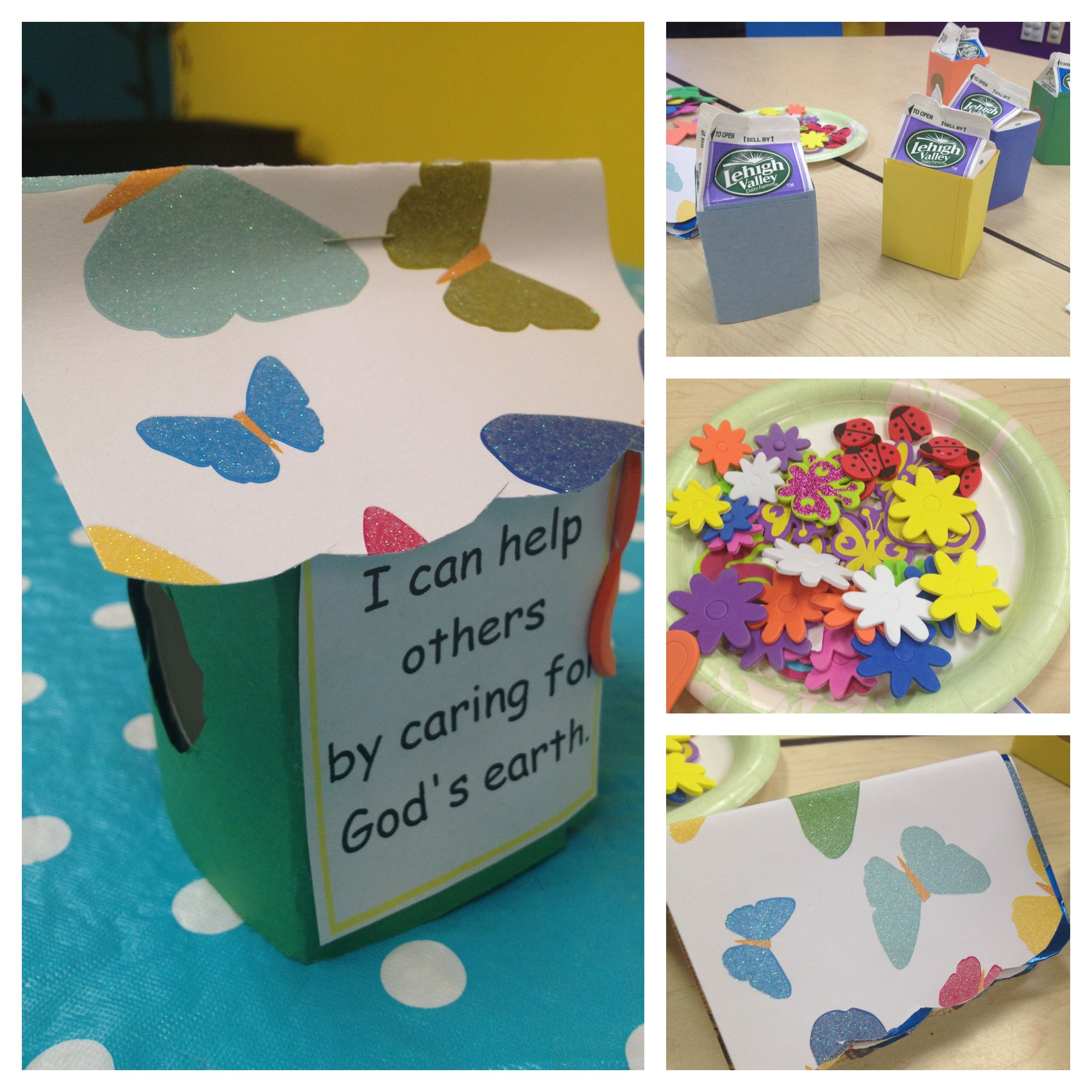 Kids Church Craft Birdhouse With Milk Carton Construction
