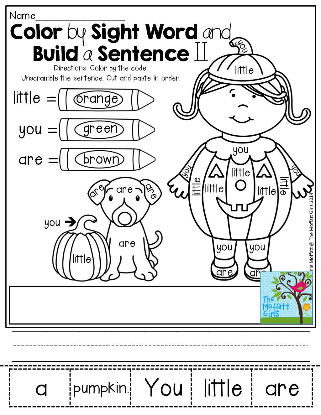 Blue Clor Words Kindergarten Worksheet