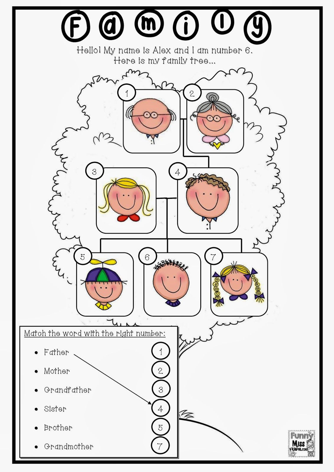 Resultado de imagen de family members worksheets for first