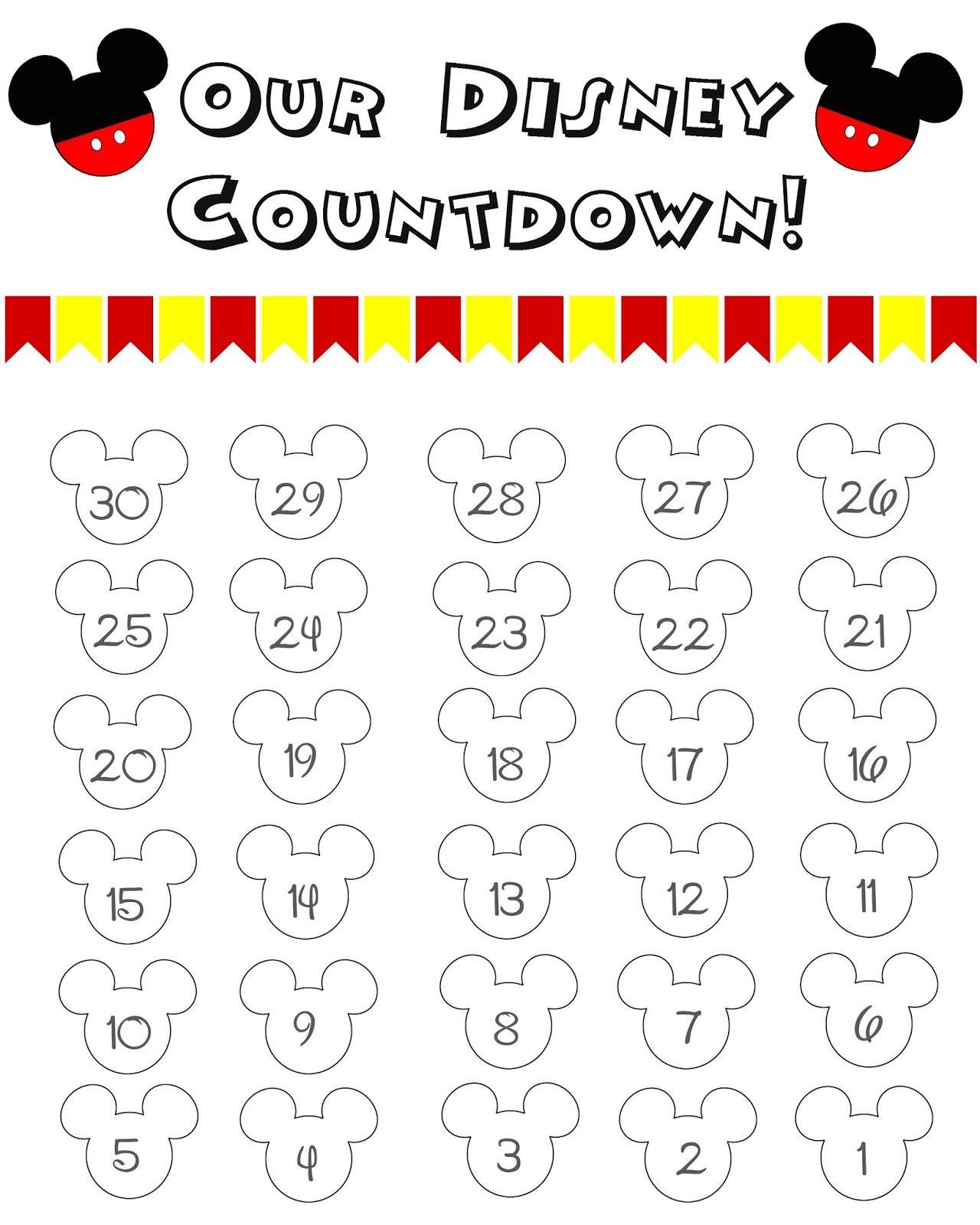 Disney World Countdown Calendar FREE Printable Disney