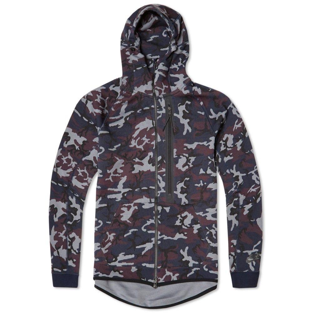 Nike Tech Fleece Camo AW77 Hoody (Obsidian & Black