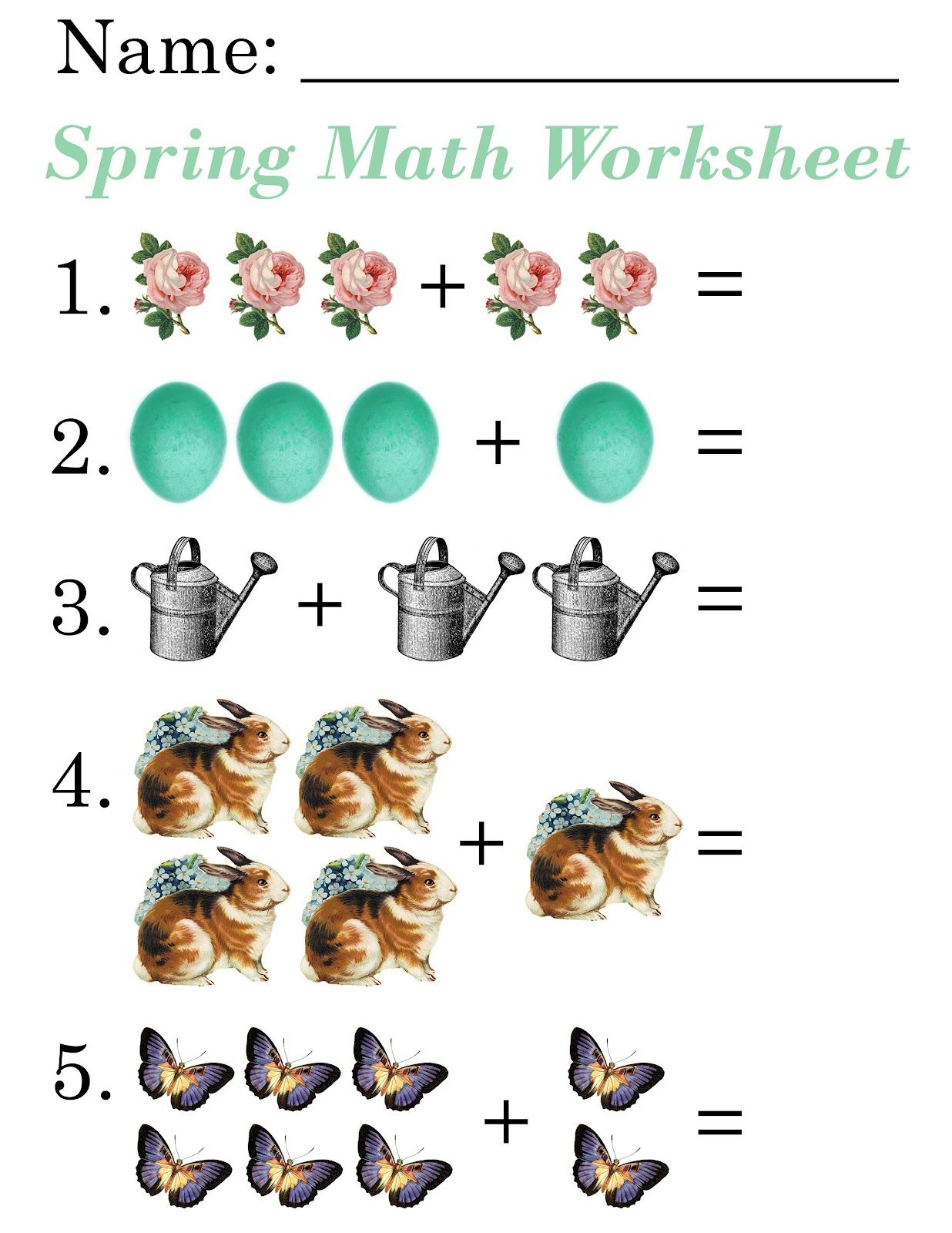 Lilac Amp Lavender Kids Spring Math Worksheets