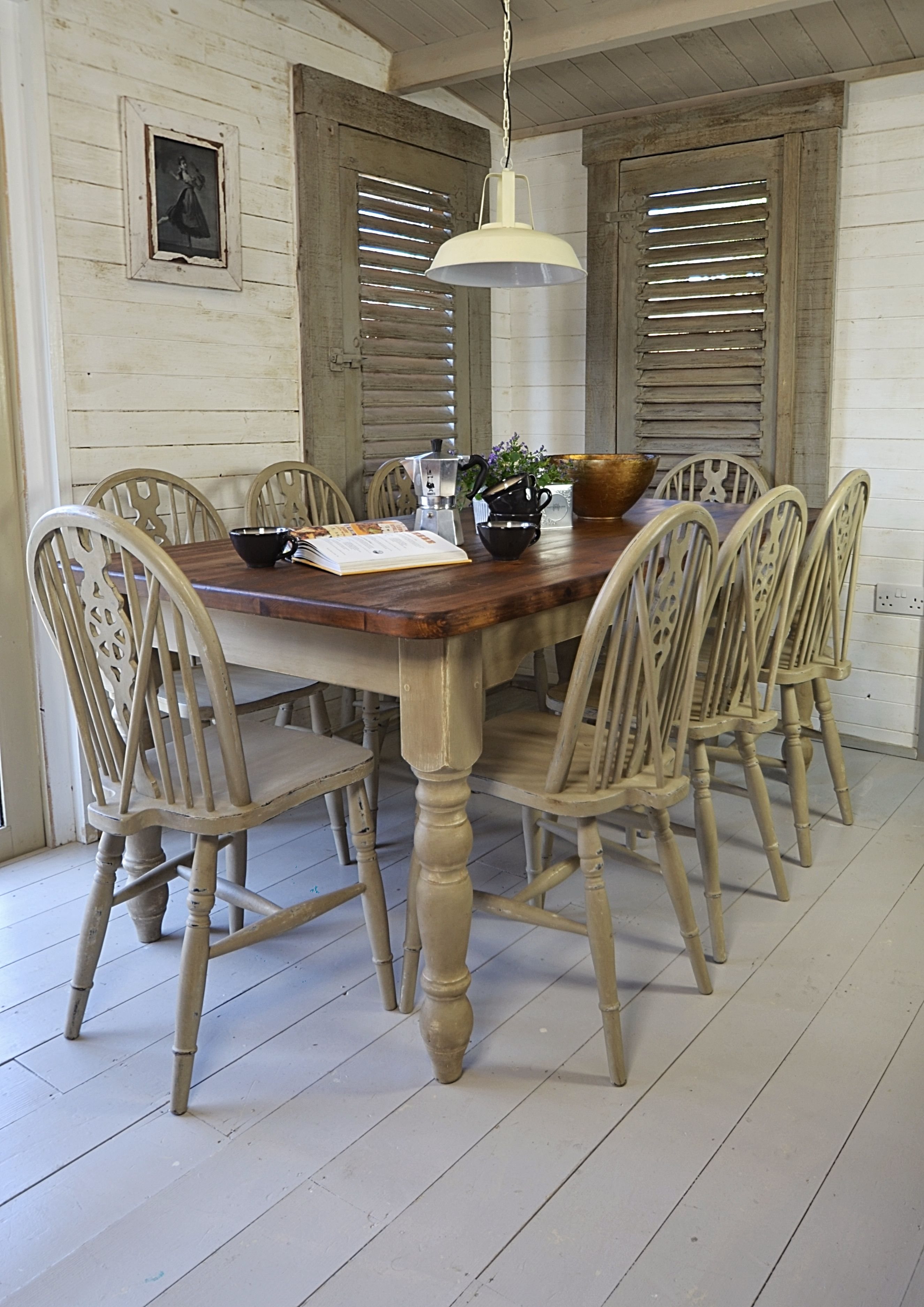 We've painted this large dining set in Annie Sloan Country