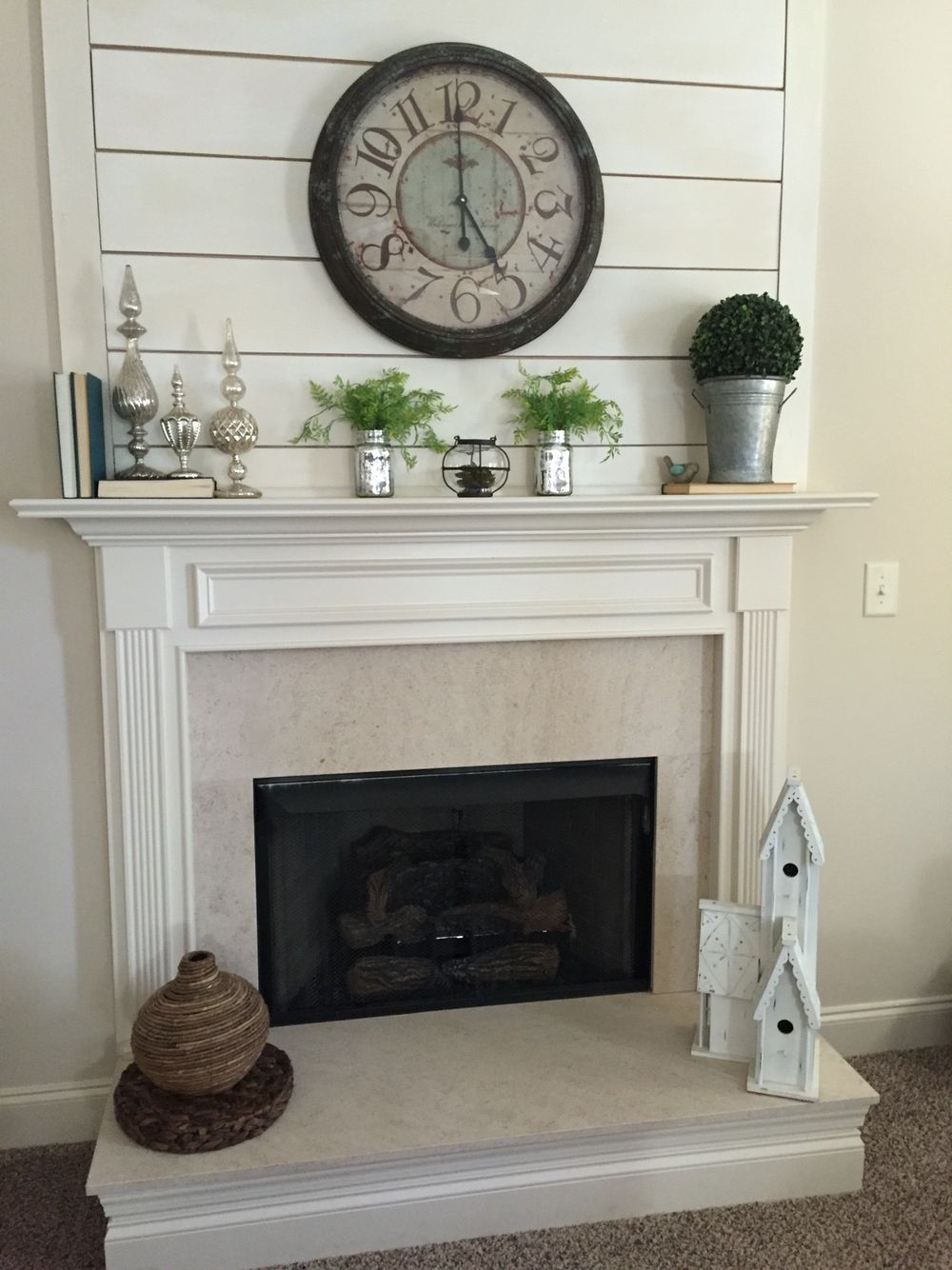 Diy shiplap fireplace. This gave a builder grade fireplace