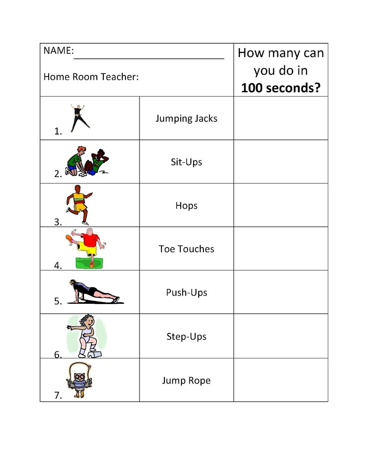 Physical Education And More 100 Second Challenge Use The