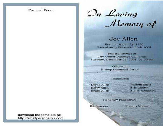 Funeral Programs Templates Free. Sample Funeral Program Template