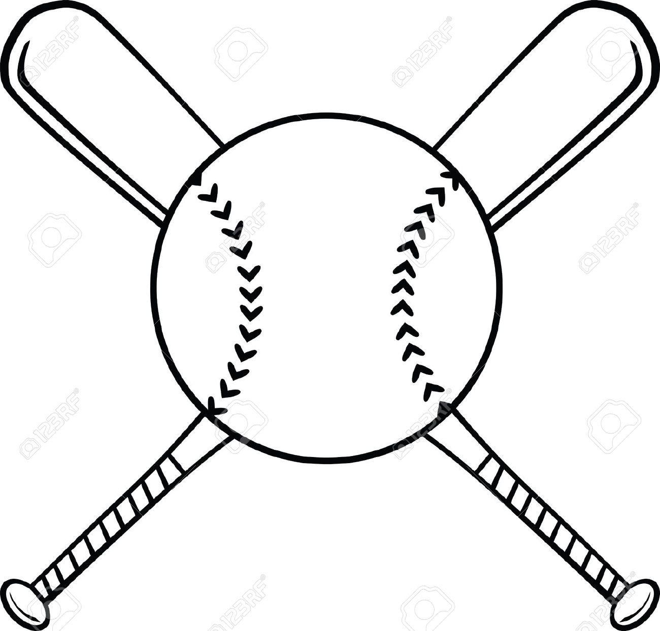 Softball Ball And Bat Clipart