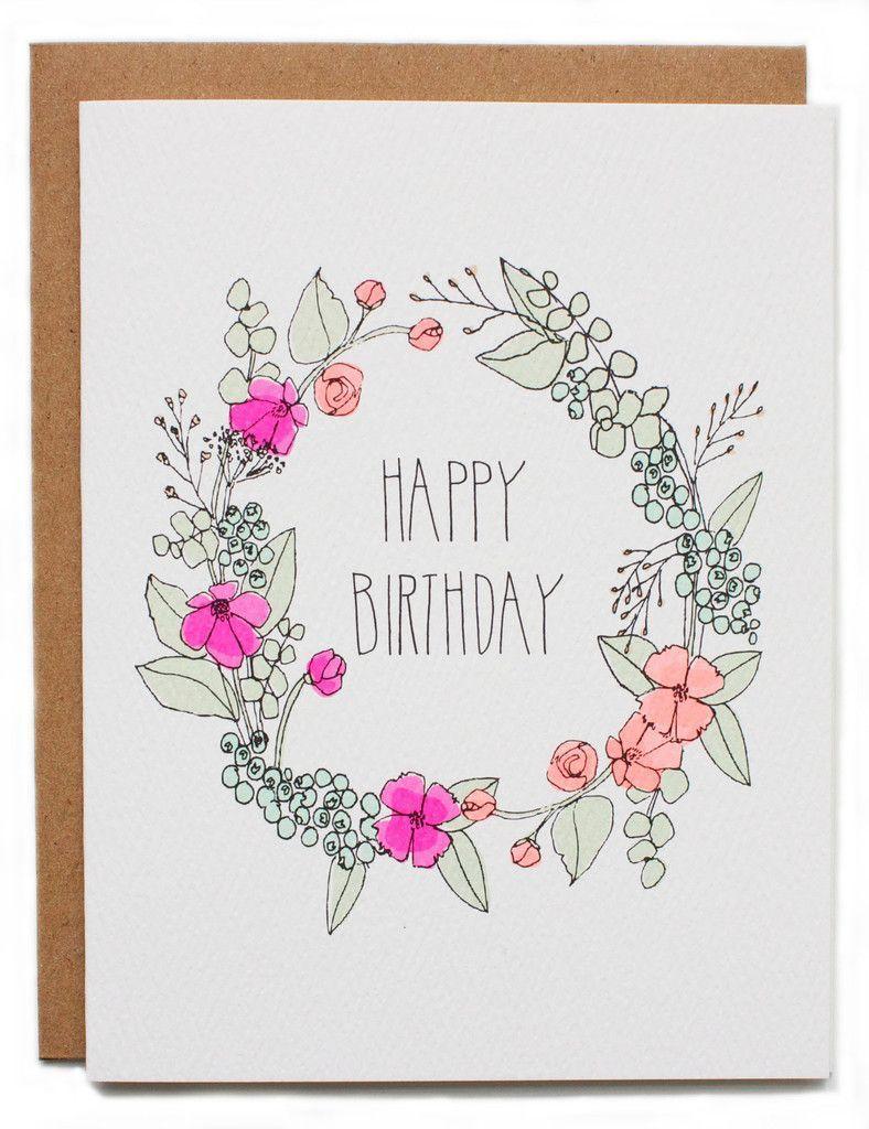 Happy Birthday Wreath Card cards Pinterest Happy