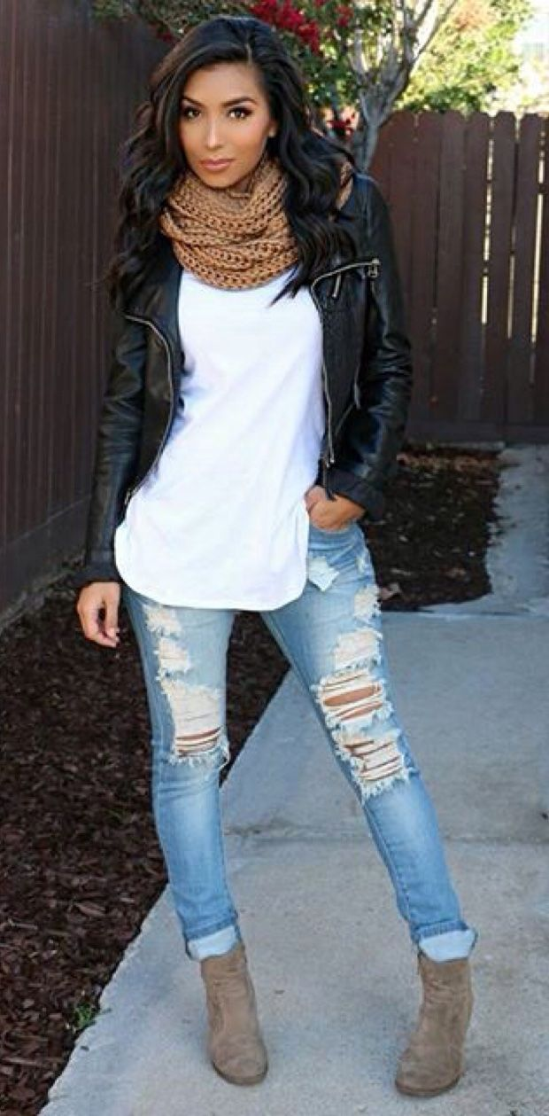 Fall Outfit Black leather jacket, brown scarf, white top