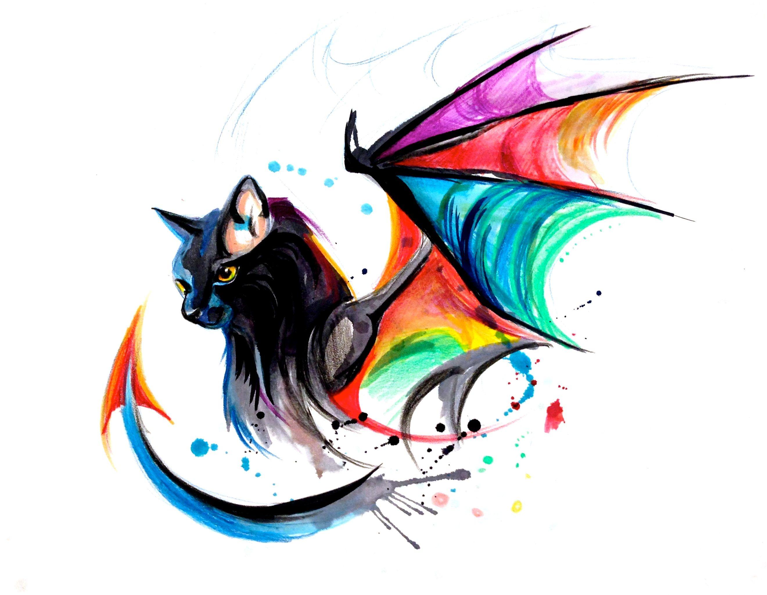 Rainbow Kitty Dragon tattoo design TATTOOS Pinterest