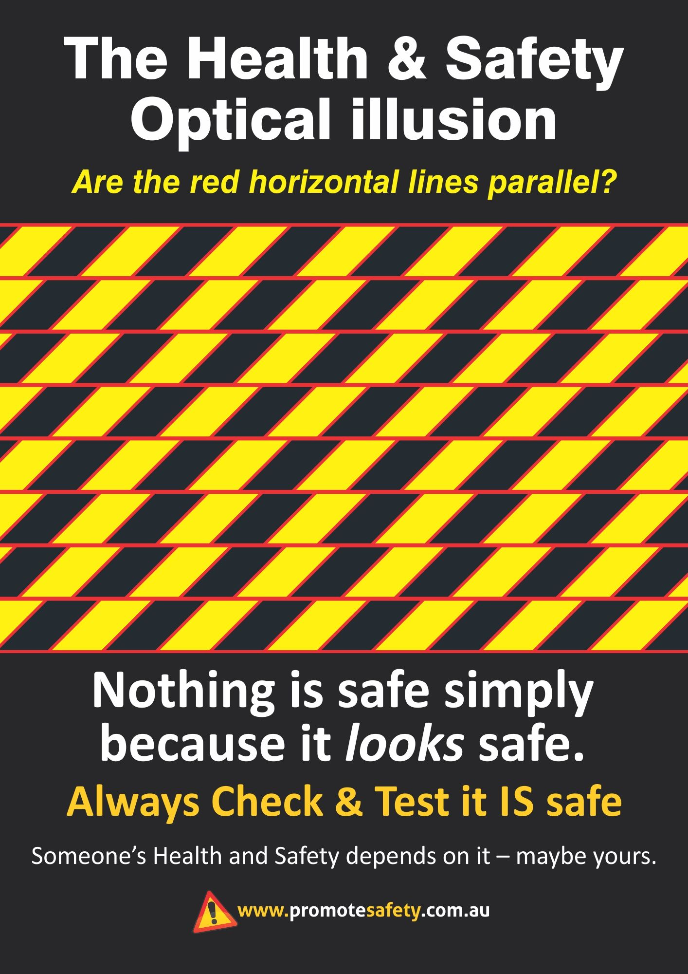 Workplace Safety and Health notice. Optical Illusion you