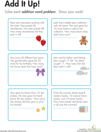 Addition Word Problems Add It Up! Word problems