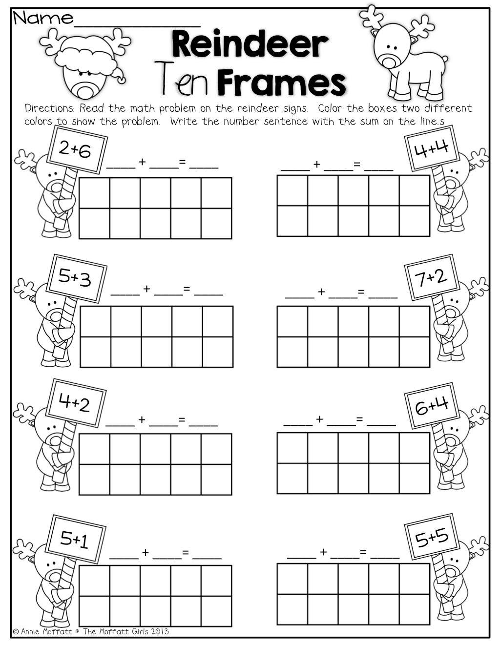 Reindeer Ten Frames Simple Math Problems With Ten Frames Teaching