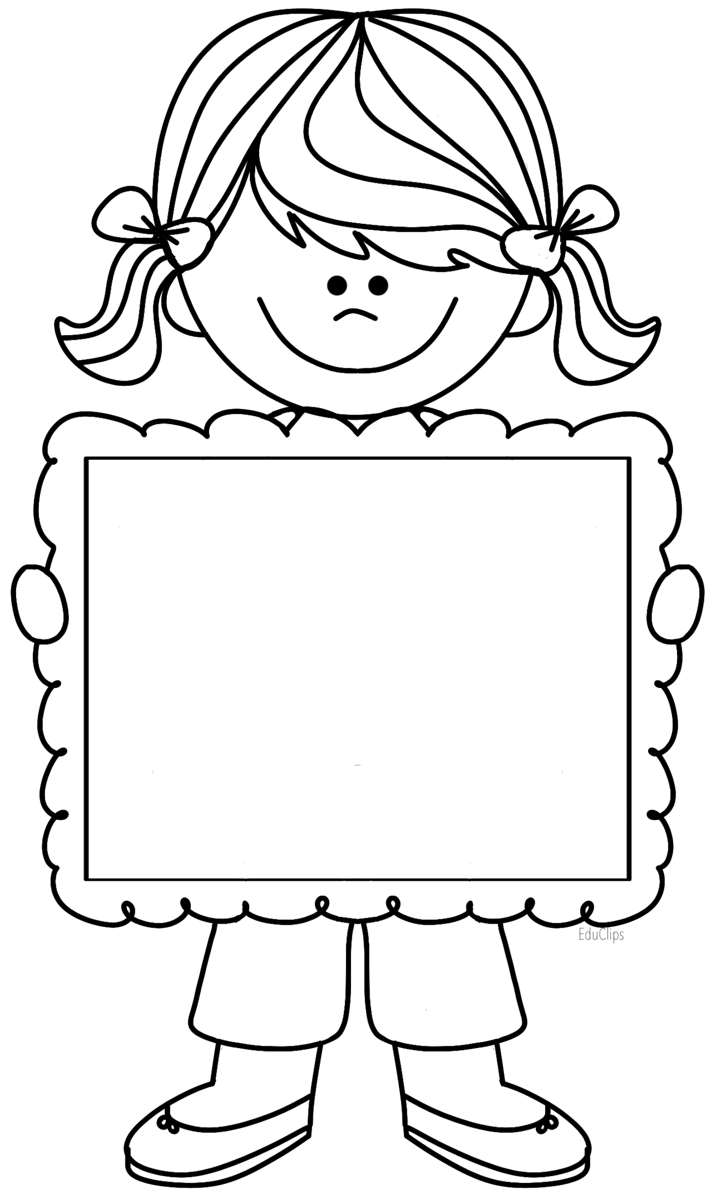 Cute Girl Clipart Holding Frame There S Space To Write