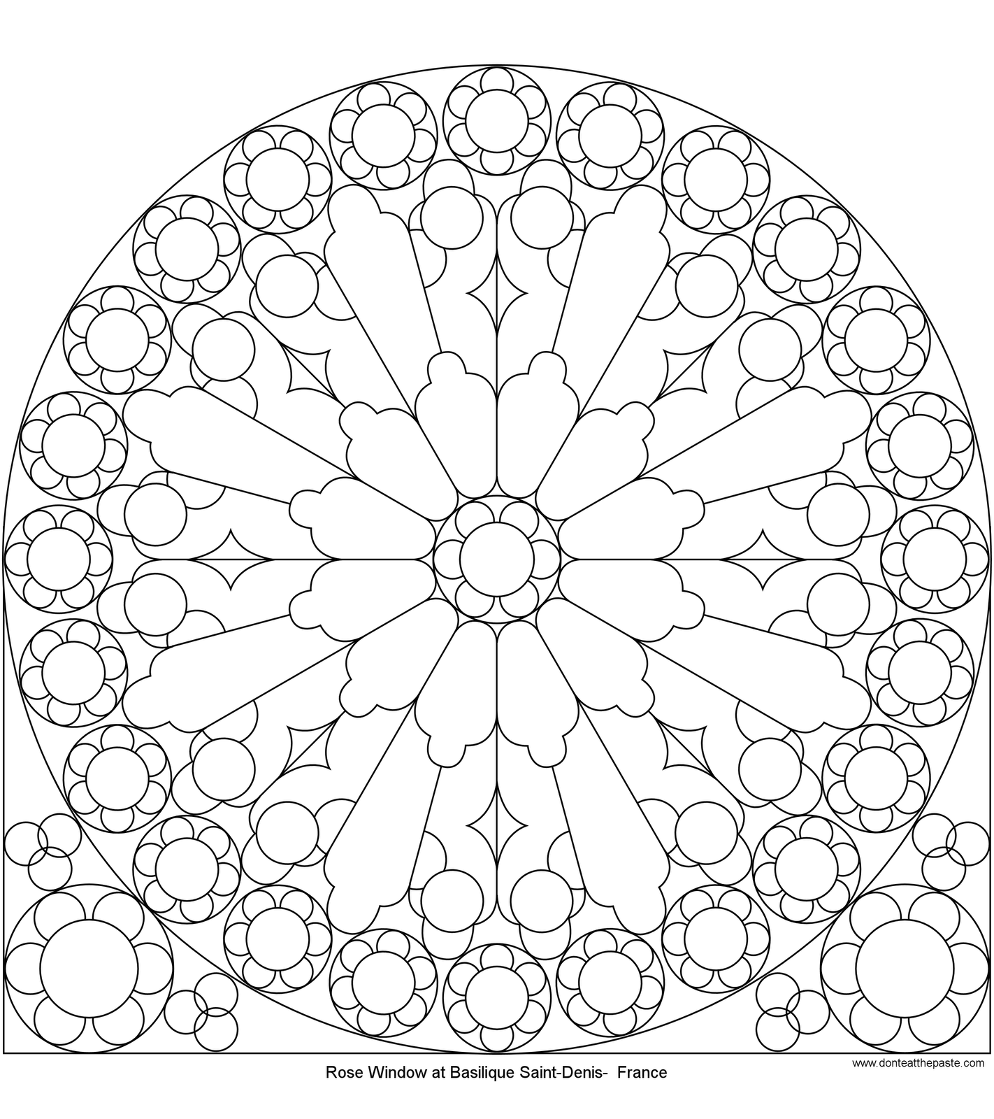 Rose Mandala Picture To Color Stained Glass Window Mandala Coloring Pages Pattern Mandala