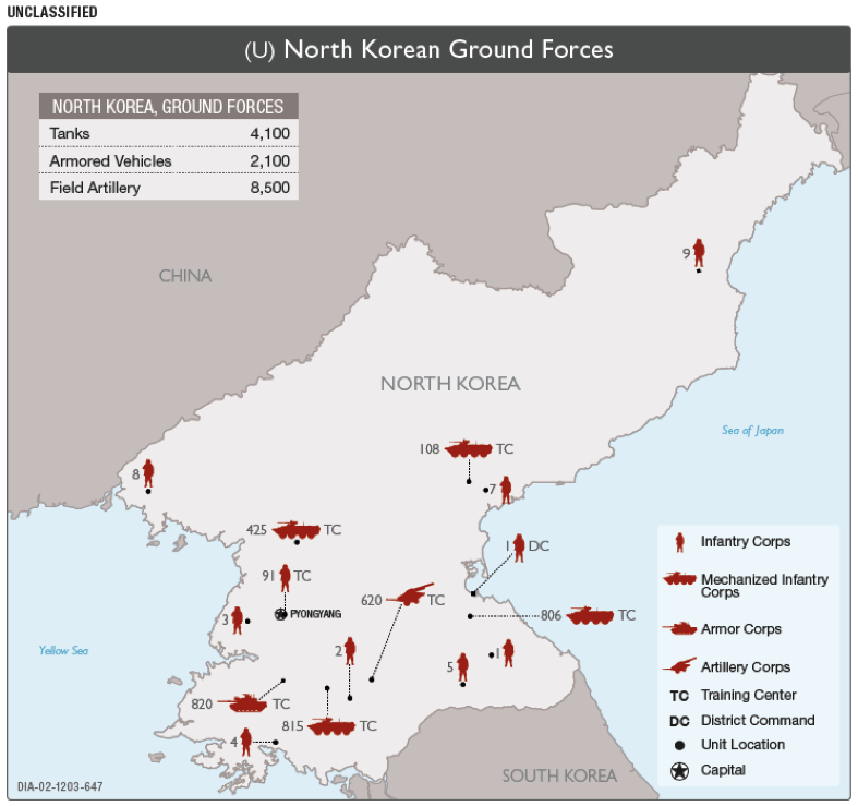 Map of North Korean Armed Forces. North Korea