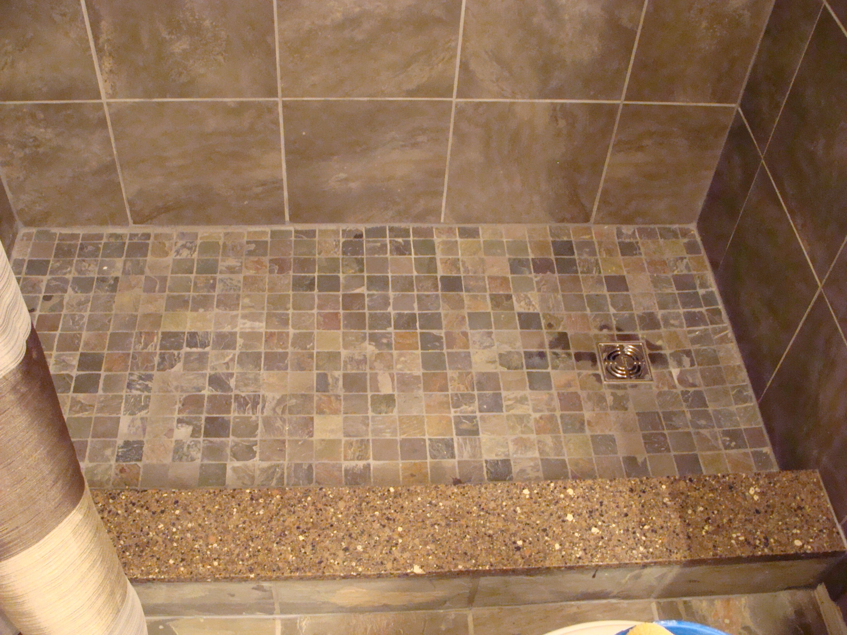 Slate Mosaic Tiles On Shower Floor Quartz Shower Curb