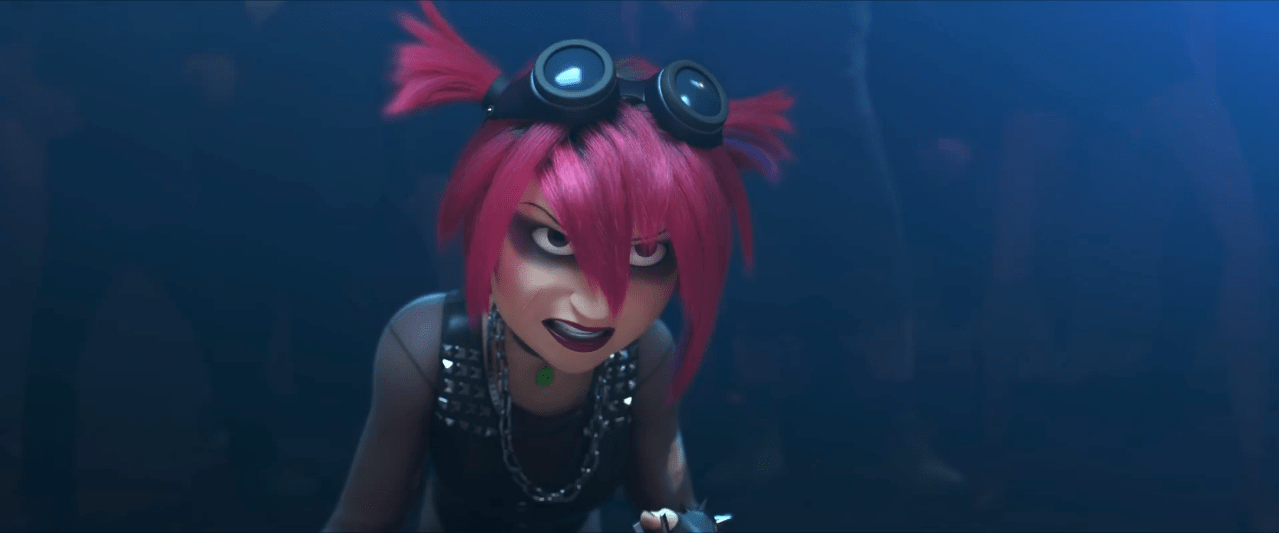 Pink Haired Punk Girl at Bot Fighting from Big Hero 6