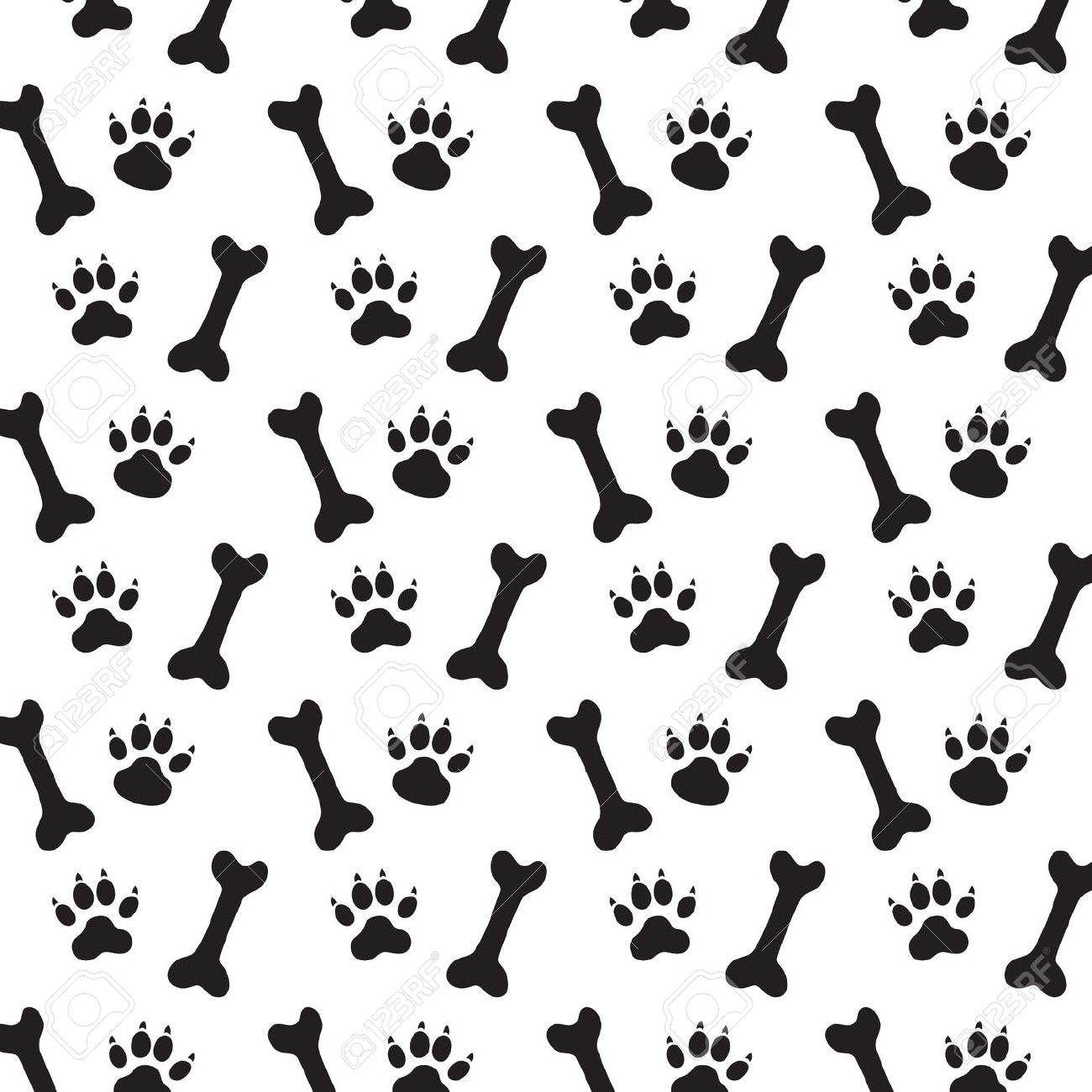 Background Dog Paw Print Bone Vector Stock Vector