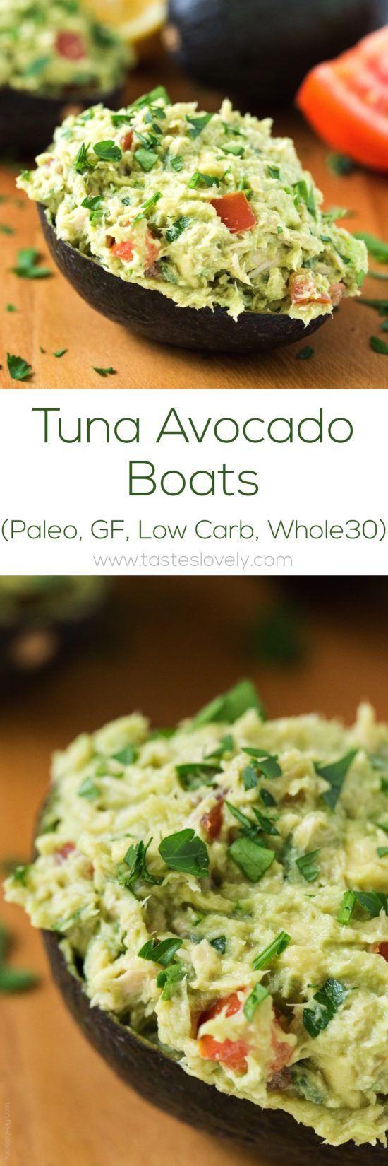 Paleo Tuna Avocado Boats – no mayo, just tuna and avocado! (gluten free, low carb, Whole30)