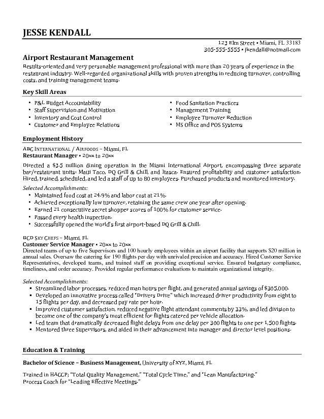 restaurant manager resume resume pinterest restaurant restaurant