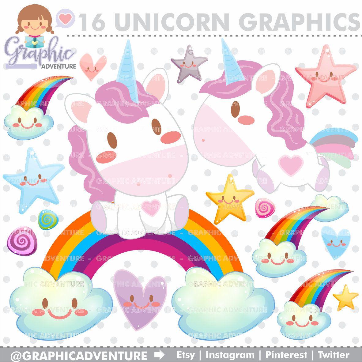 Unicorn Clipart, Unicorn Graphics, COMMERCIAL USE, Kawaii