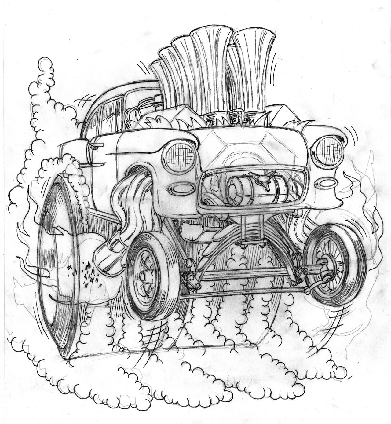 Sketch 55 Chevy Gasser By Coop