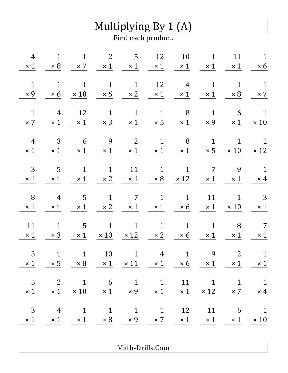 The Multiplying 1 To 12 By 1 A Math Worksheet From The