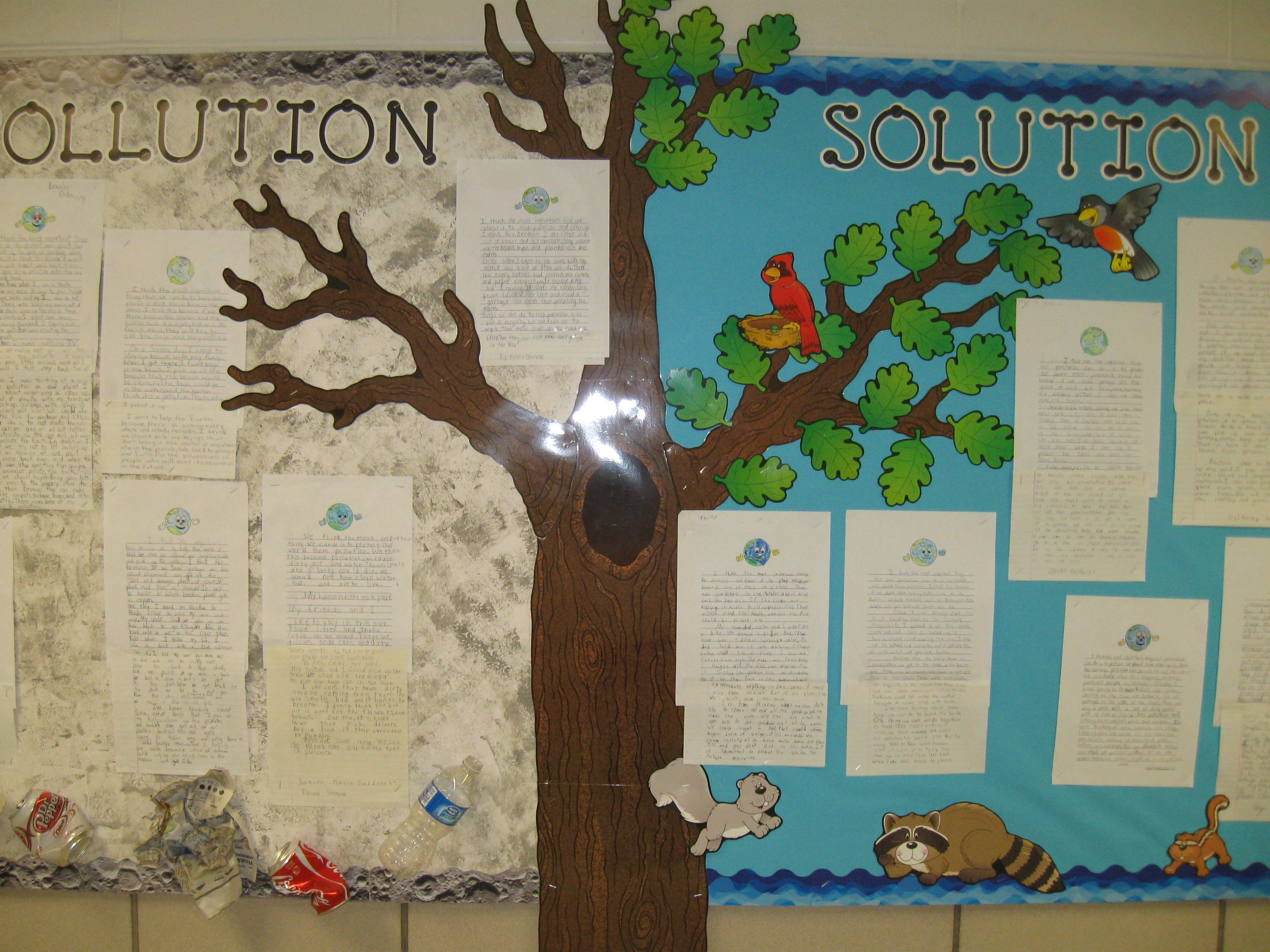 Bulletin Board For Earth Day She Used Ctp S Black Dot To Dot Letters And Waves Of Blue Borders