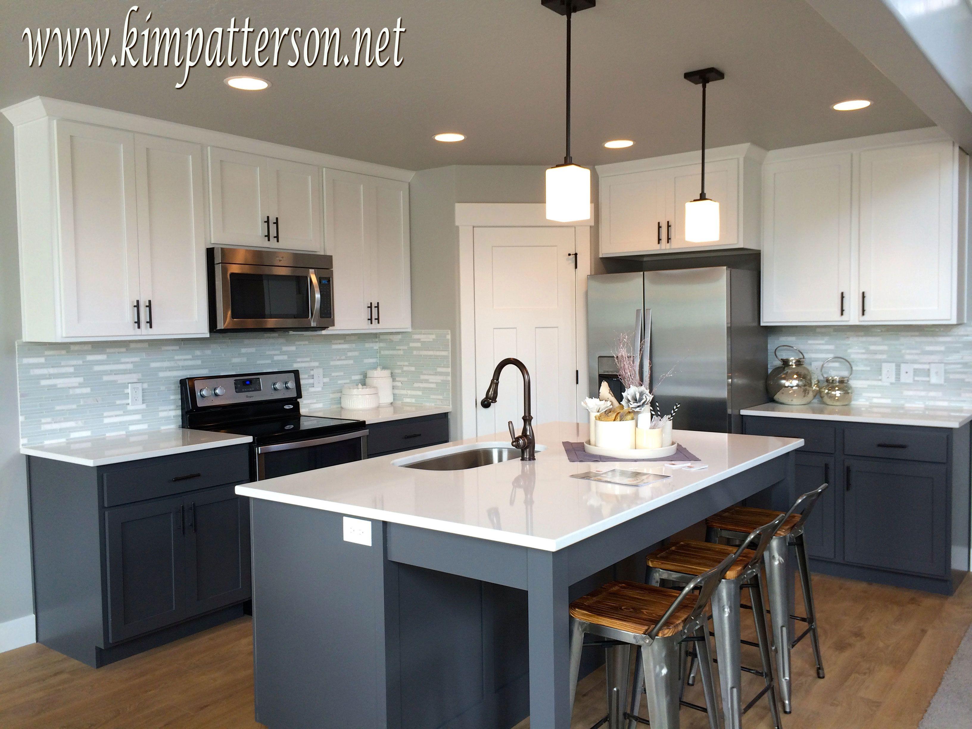 Kitchen Antique White With Black Appliances Grey