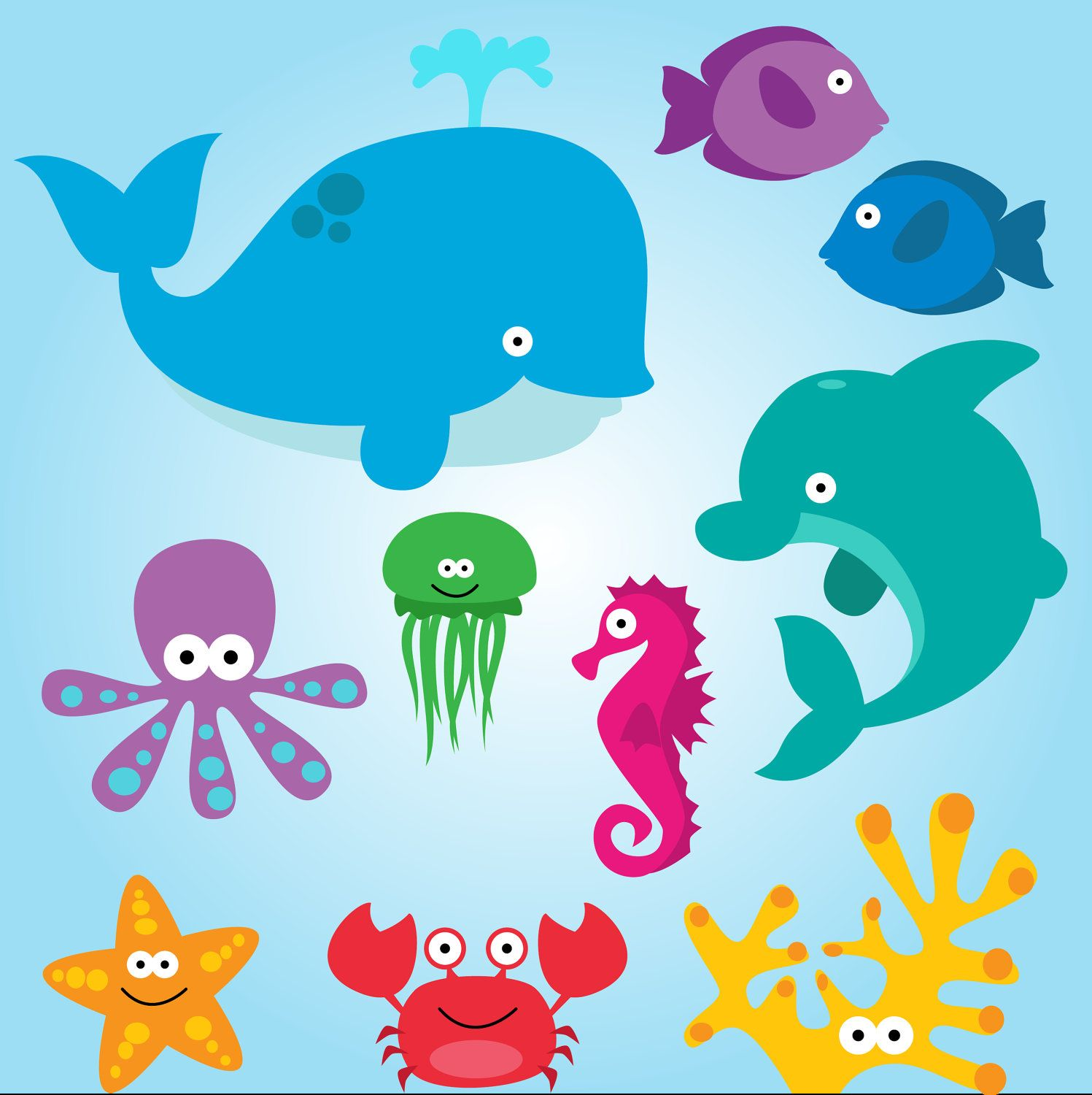 Sea Animals Clip Art Clipart Sea Creatures Clip Art