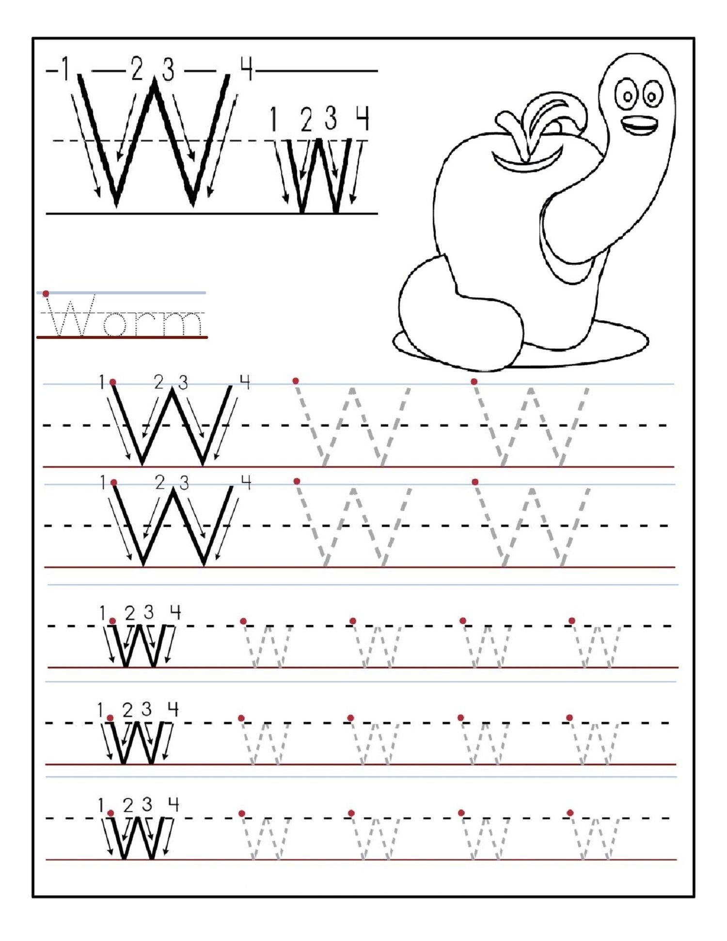 Letter Tracing Sheets For Pre School Kids