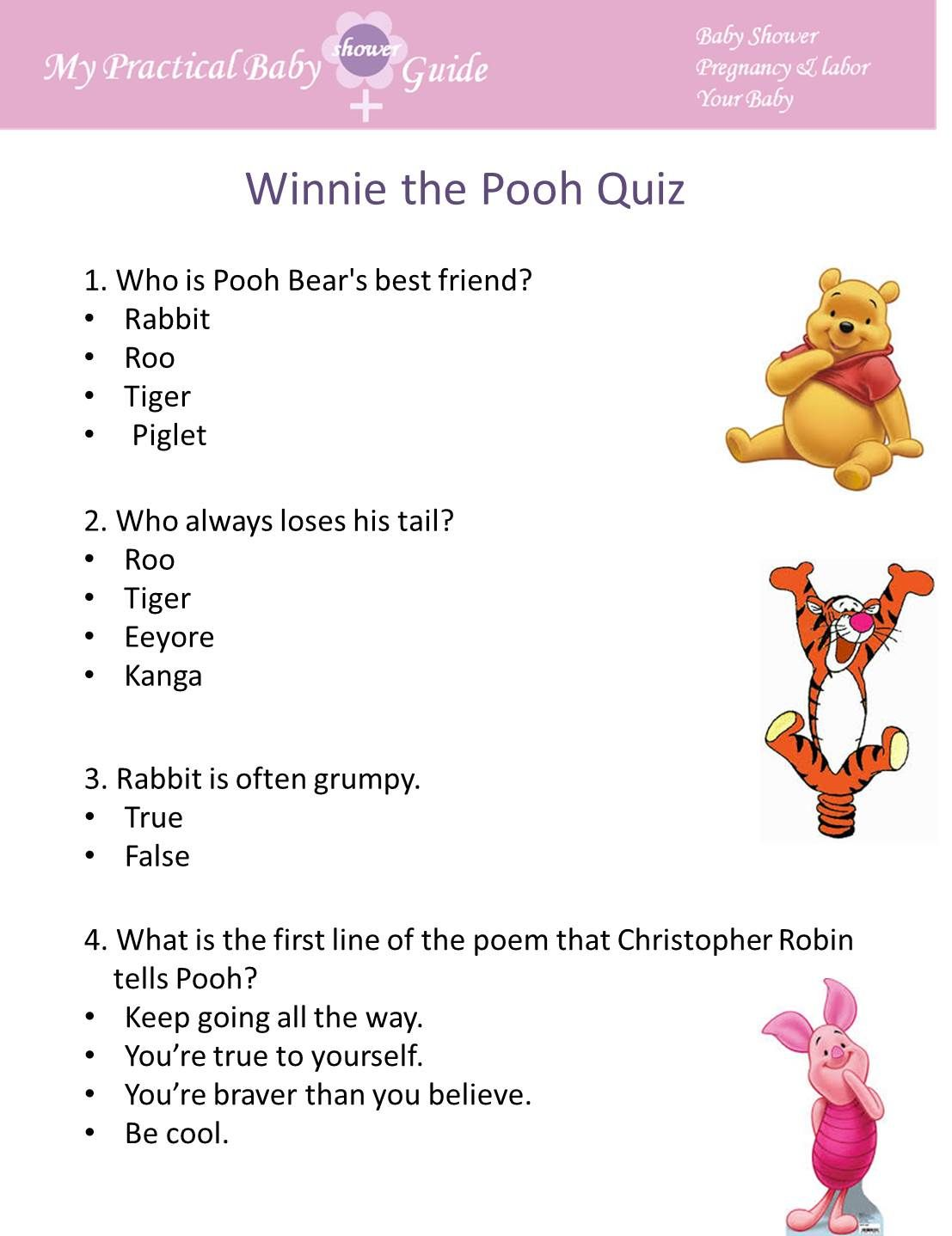 Free Printable Winnie The Pooh Baby Shower Game Visit This Page If You Plan To Throw A