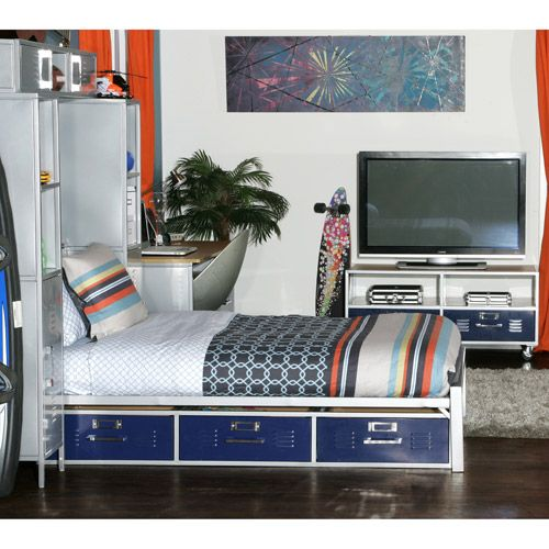 Mix N Match Locker Twin Bed With Storage Blue Panels