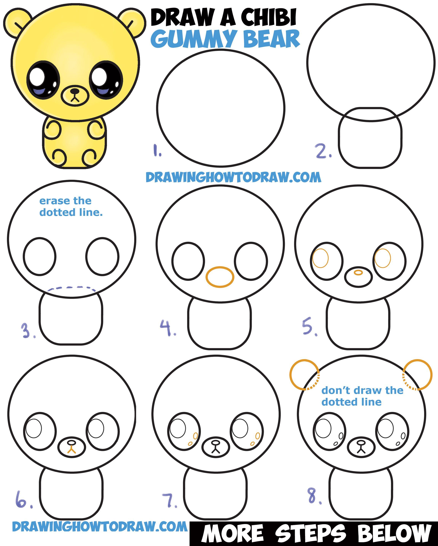 How to Draw a Cute Chibi / Kawaii / Cartoon Gummy Bear