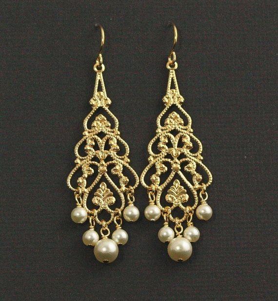 Gold Pearl Chandelier Earrings Bridal Filigree Wedding Swarovski