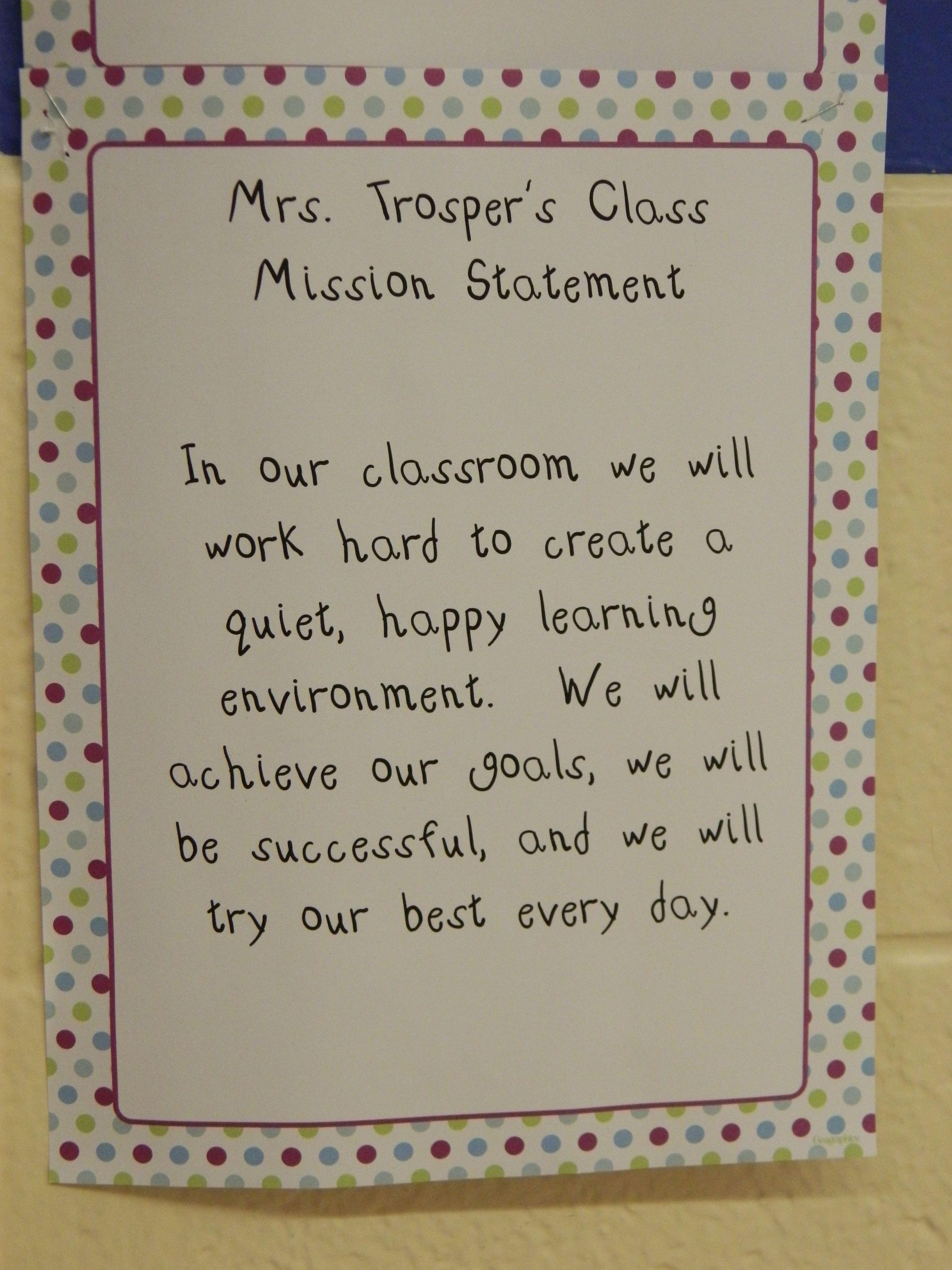 Third Grade Classroom Mission Statement