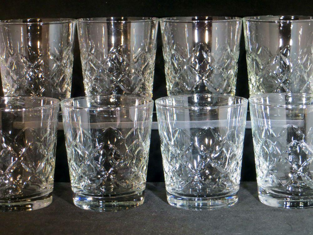 Set Of 8 Vintage Libbey Kent Diamond Pattern Cut Glass Old