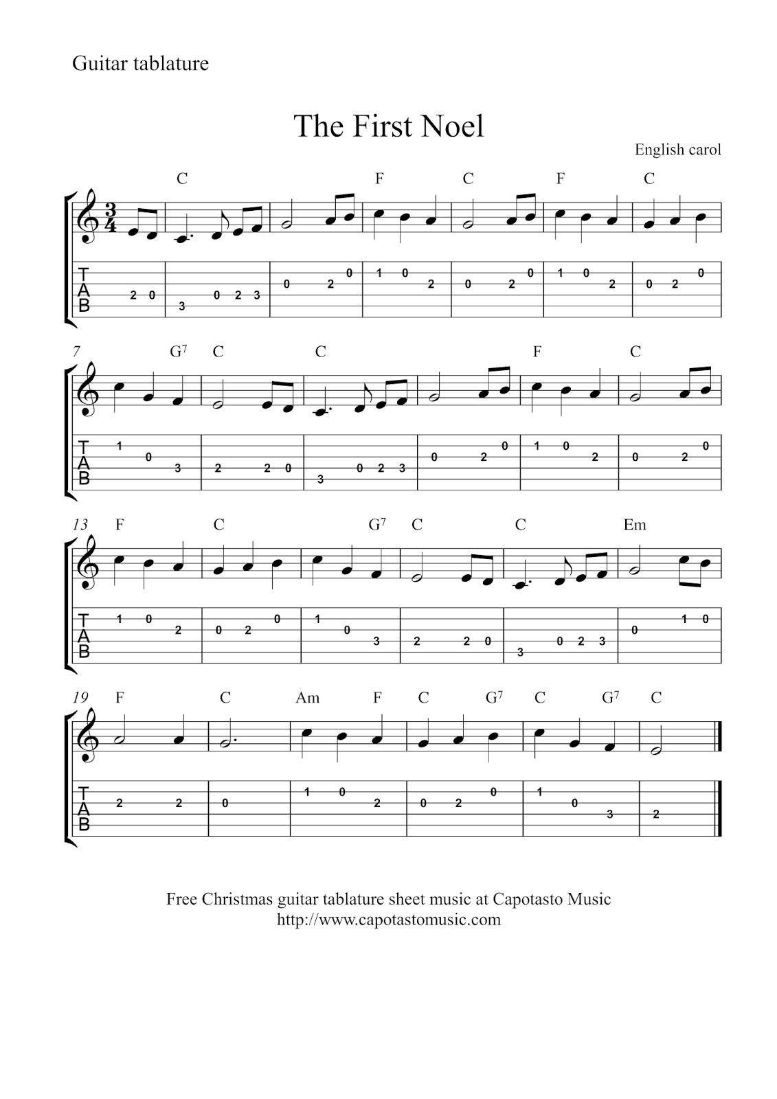 Free Sheet Music Scores Guitar tab Christmas Music