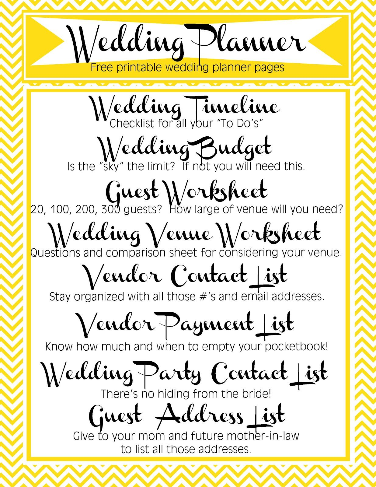 Free Printable Wedding Planner Includes Timeline Budget