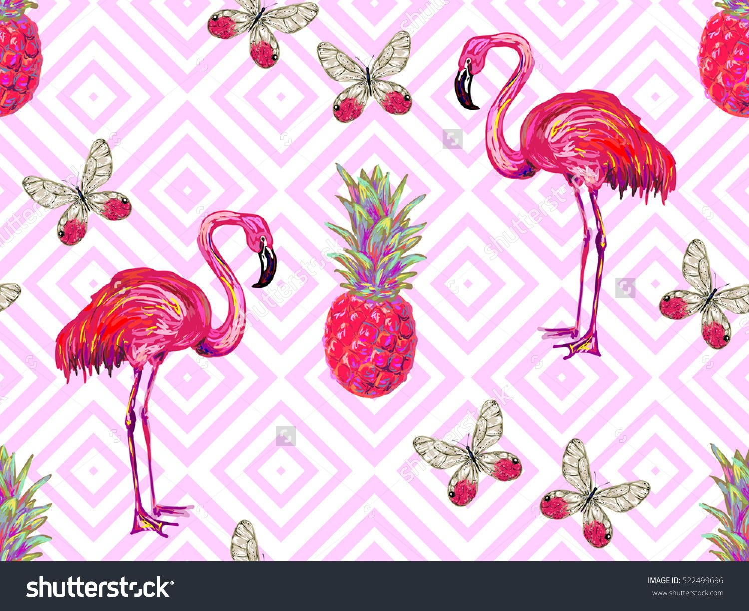 Summer Jungle Pattern With Tropical Butterflies, Flamingo