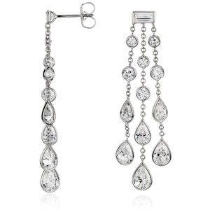 Blue Nile Dew Drop Bezel Set Diamond Chandelier Earrings In 18k White Gold