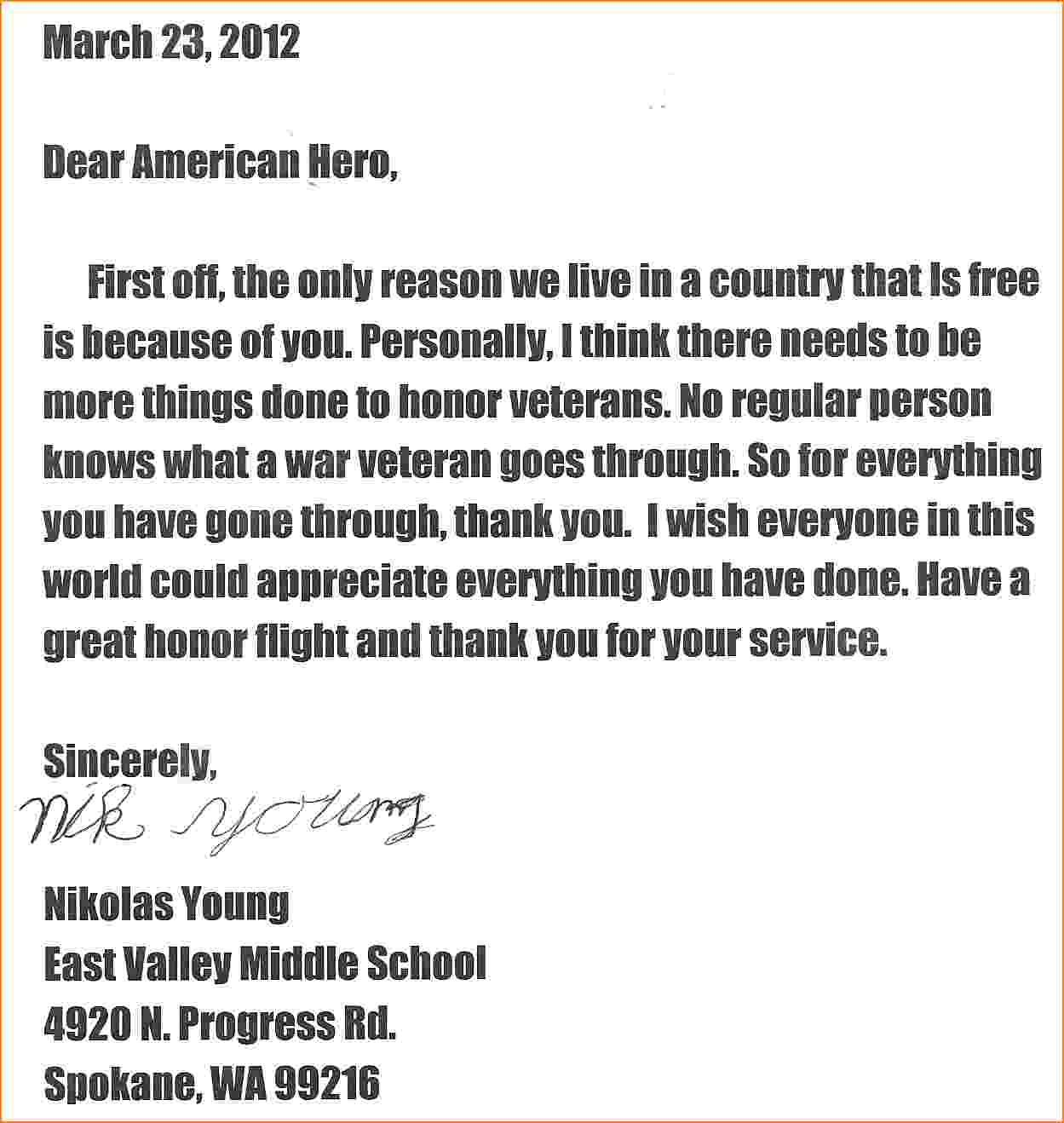 Honor Flight Letter Examples http//www.valery