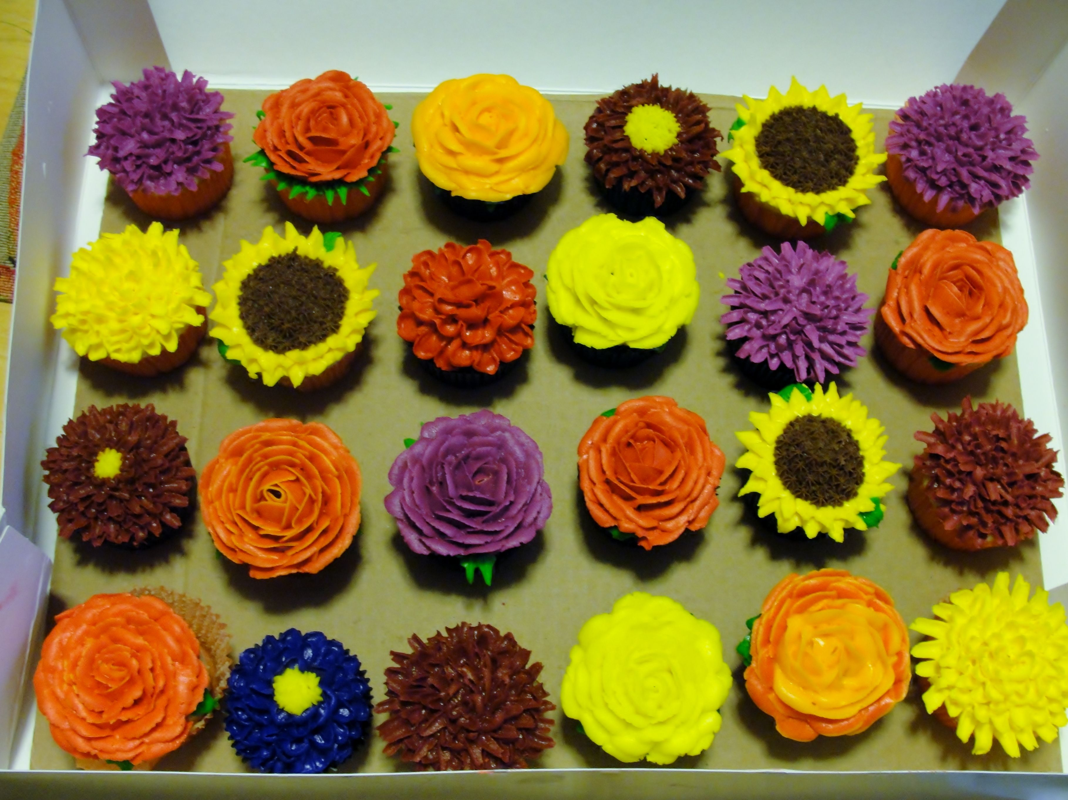 Fall Flower Cupcakes...