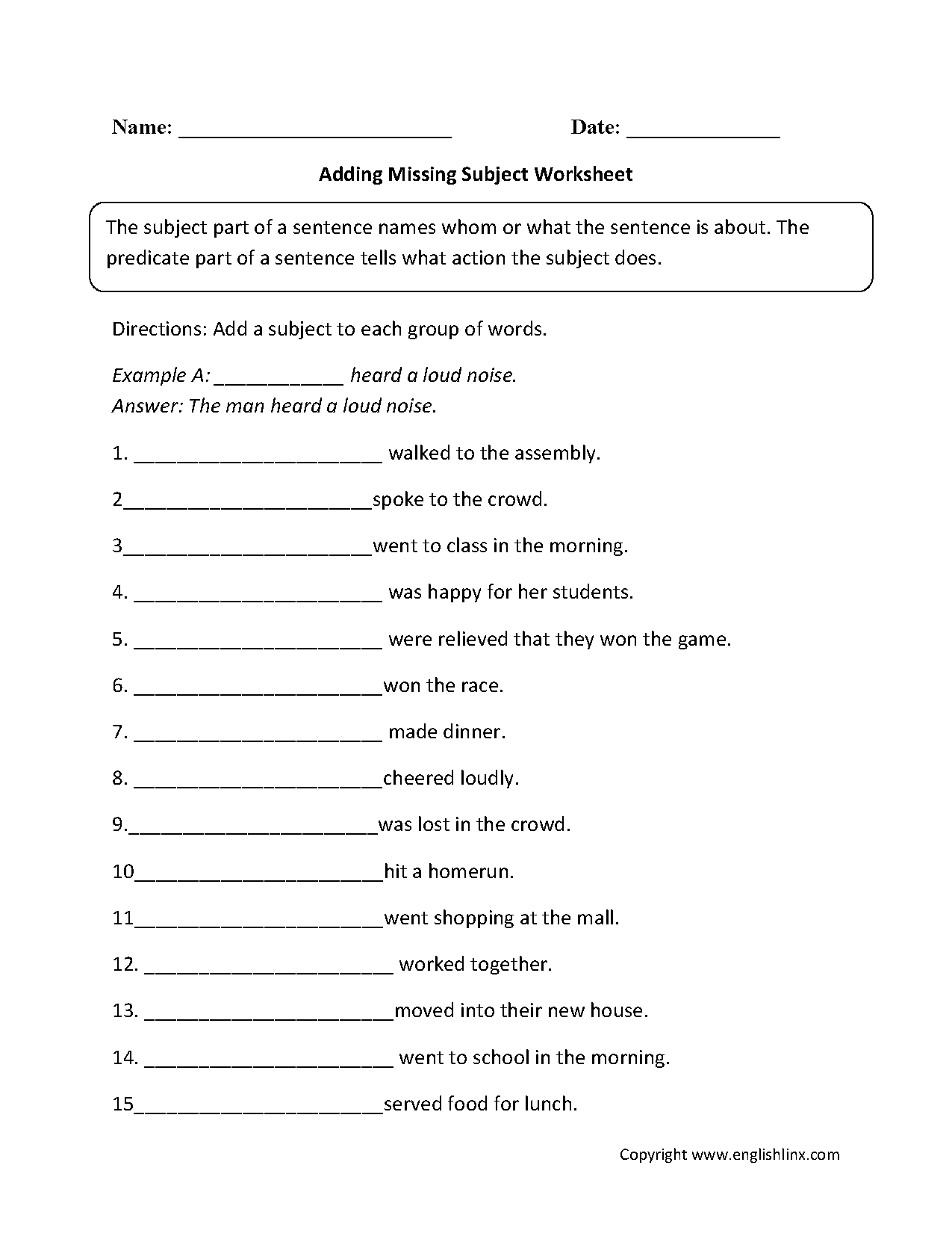 Worksheet Simple Subject And Predicate Worksheets Grass Fedjp Worksheet Study Site
