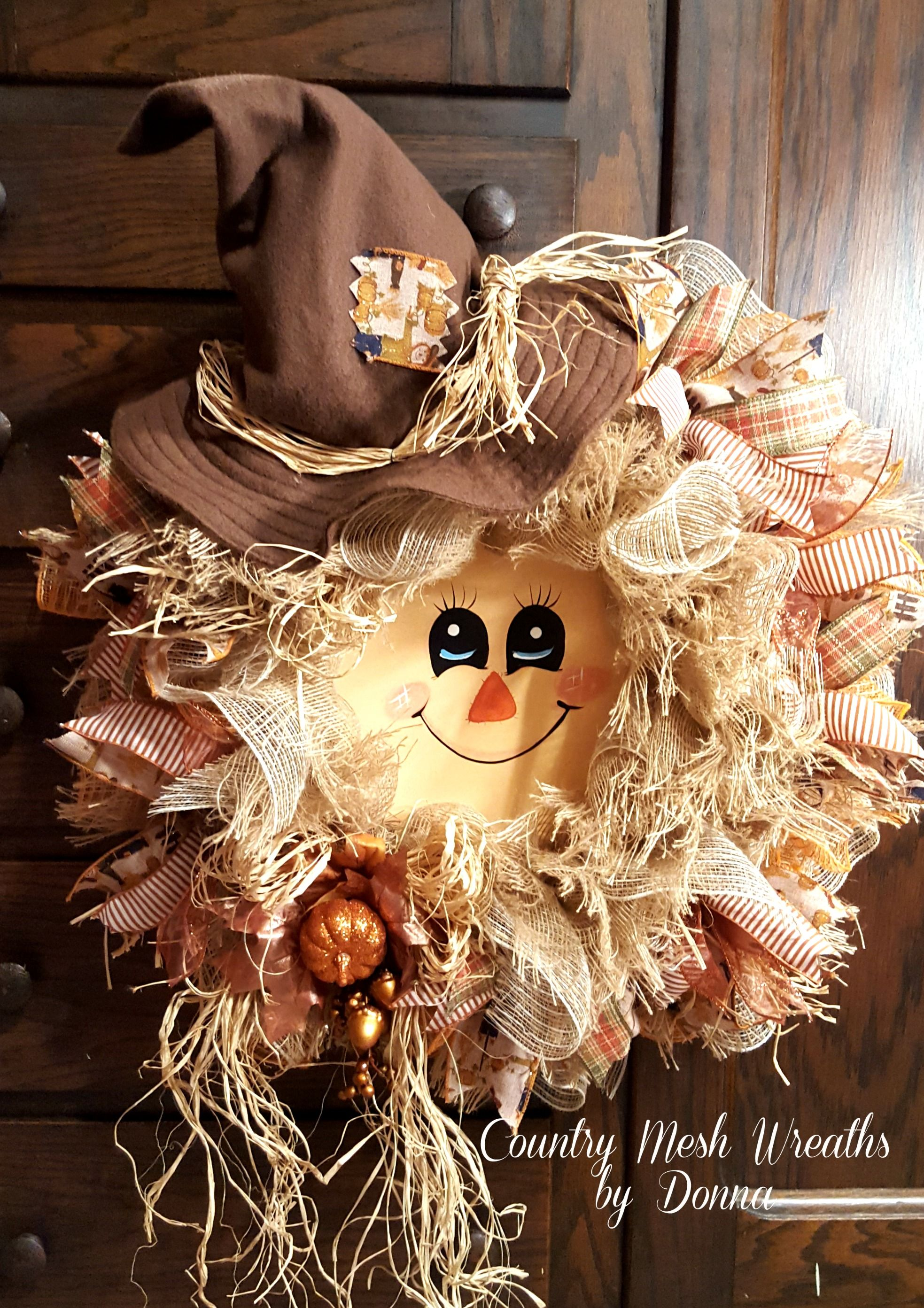 Scarecrow Wreath for Fall! Hand painted face and Handmade