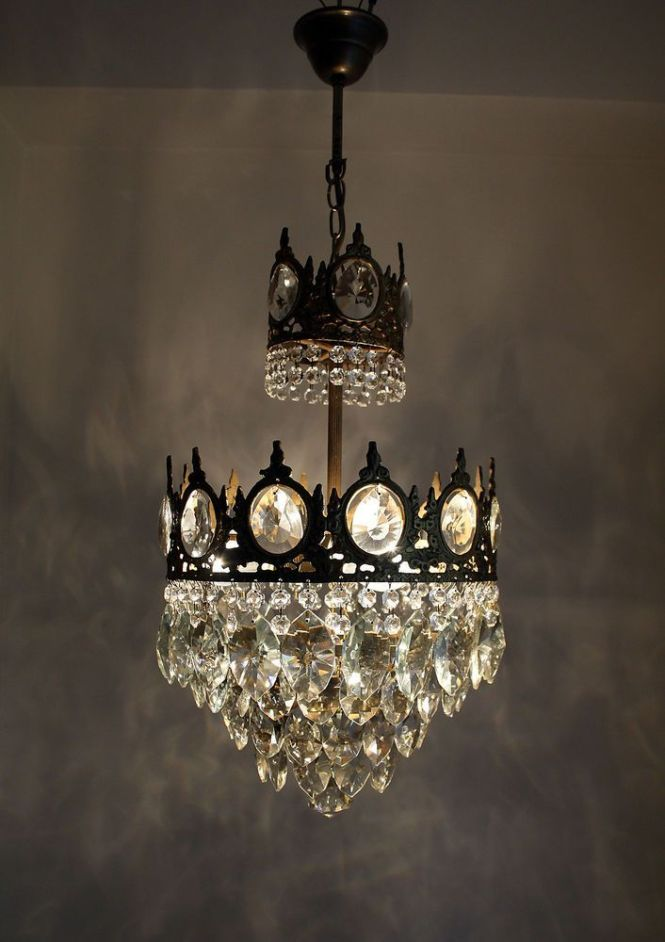 Antique French Basket Style Brass Crystals Chandelier From 1950 S