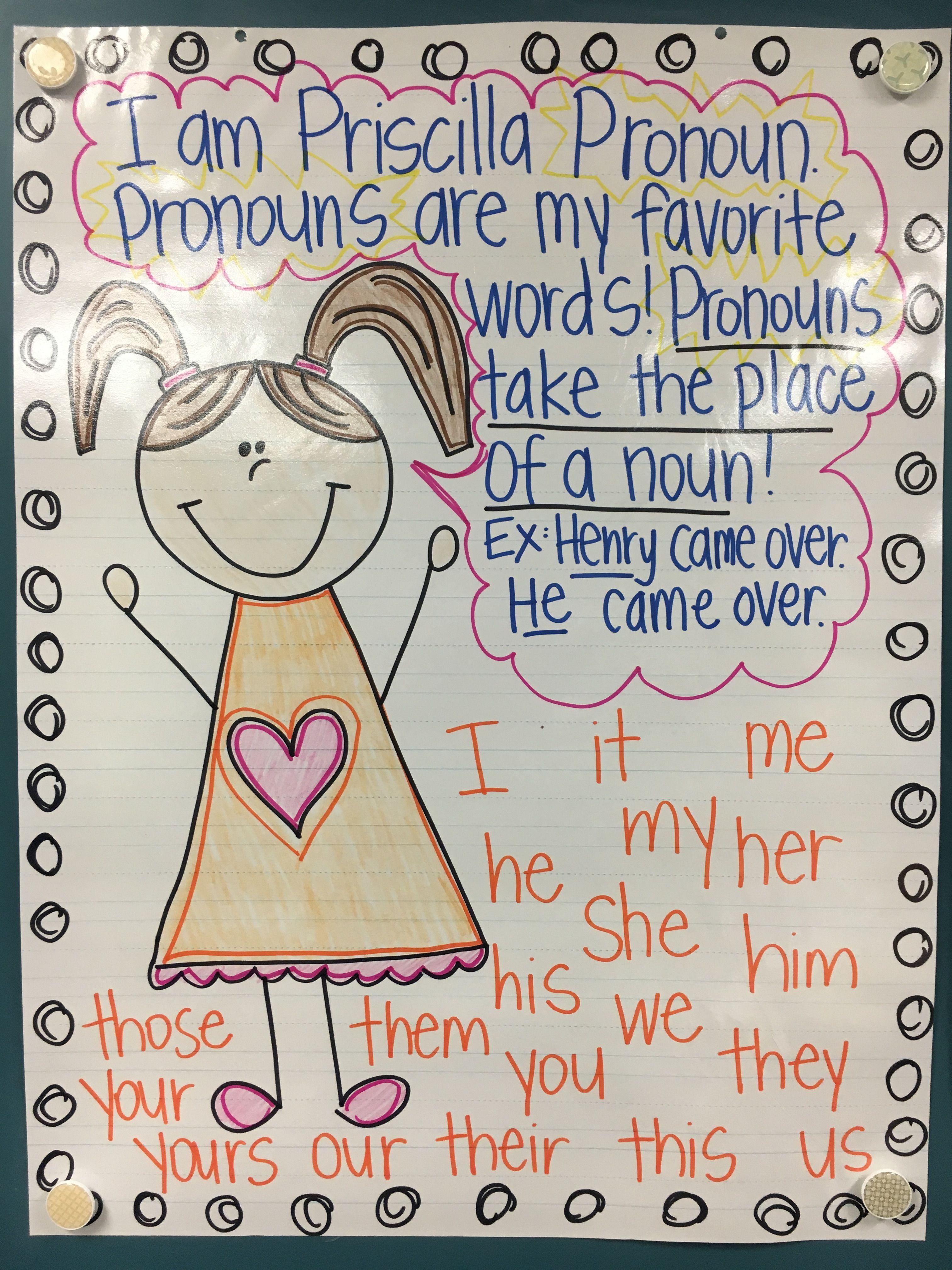 Priscilla Pronoun Anchor Chart First Grade Infographics