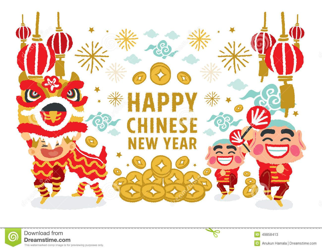 Chinese New Year Lion Dancing vector concept Chinese new