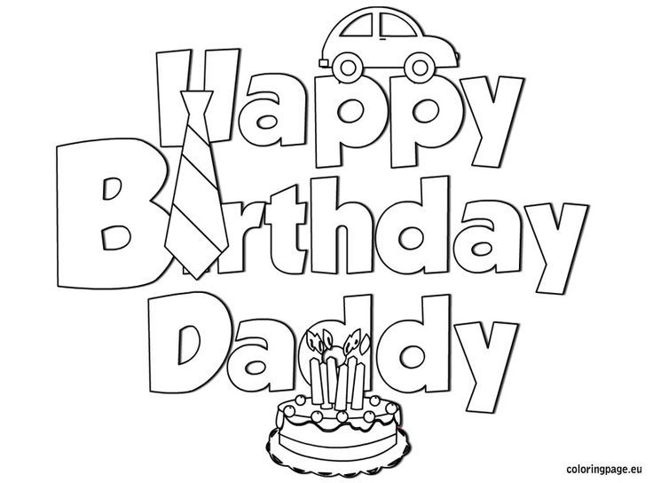 happy birthday daddy coloring  coloring page  love